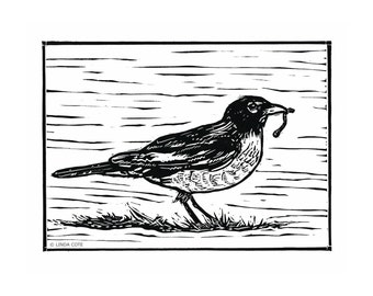 Little Robin Linocut Relief Print, Hand Pulled Fine Art, Limited Edition, Printmaking Original