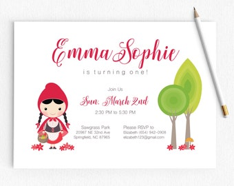 Birthday Baby Shower Invitation | Little Red Riding Hood | Red Floral | Girl Invitation | Once Upon A Time | Printable
