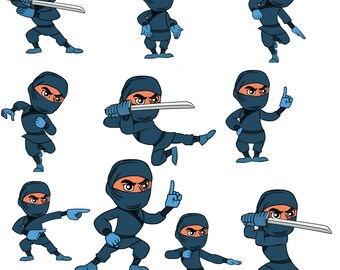 Ninja clipart,Ninja clip art,Character Design digital clipart set,character clipart,character clip art