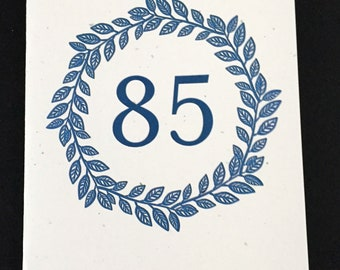 Masculine 85th Birthday Card, Laurel Wreath Birthday Card, Blue, Birthday Card for Dad, Card for brother, Card for Uncle