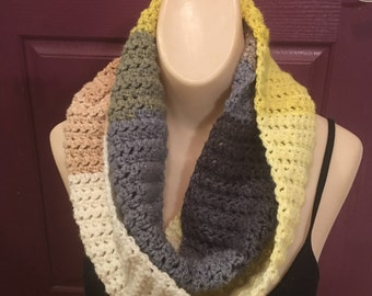 Crocheted Cozy Muted Colorful Cowl