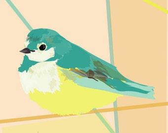 blue tit  bird art print