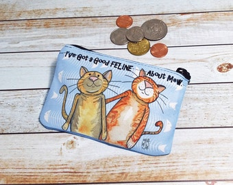 Funny Cats Coin Purse Change Pouch Wallet Cat Pun Humor Good Feline About Mew