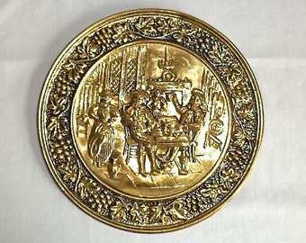 """English Brass Plate 10"""" Handcrafted Embossed Edwardian Victorian Pub Party"""