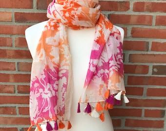 Cotton Silk printed scarf with tassels, gift, fashion, Eco-friendly, luxurious, authentic, bohemian, beautiful, seasonal