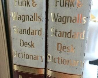 Funk & Wagnalls, Standard Desk Dictionary, Volume 1 A-M and Volume 2 N-Z, vintage dictionary, dictionary, vintage books