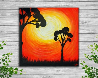 "African Sunset Trees Small Painting Canvas Art Original Acrylic Painting on Small Canvas 20x20 cm (8""x8"") Wall Art Gift Ideas Ready to Hang"