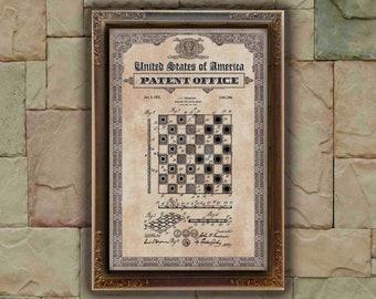 Checker and chess Patent Print, chess Gift, chess Patent Print, Wall Decor, Patent Decor, chess Decor, chess Art