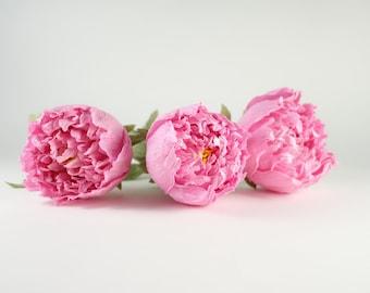 Crepe paper peony 3 pcs with stem, crepe paper flower, Paper wedding flower, wedding bouquet, Paper flower, Home decor