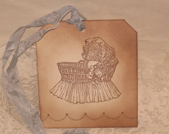 Vintage Baby Carriage Gift Tag Vintage Baby Collection ECS