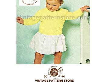 "Babies toddlers, round neck, raglan sleeve sweater, with eyelet lace hem - 18"" - 22"" chest - Vintage PDF Knitting Pattern 459"