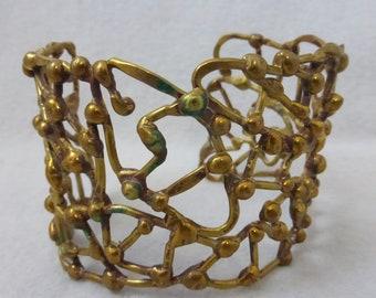 Vintage Lost Wax Cast Cuff Brass Bracelet