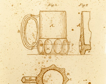 beer art, A Beer Mug Patent, painted using beer, technical, patent drawing, scientific, historical, stein