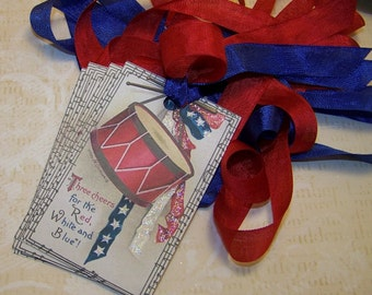 4th of July Tags Americana Tags Patriotic Tags Red White and Blue Vintage Style Junk Journal Journaling Cards Supplies Set of 6 or 9
