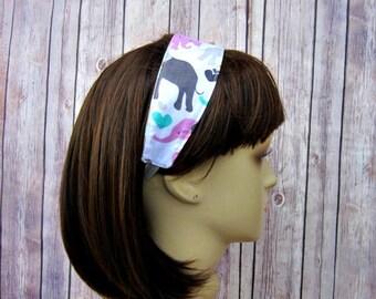 Reversible Headband - Headband for Women - Adult Headband - Womens Headband - Handmade Fabric Headband - Elephants on White