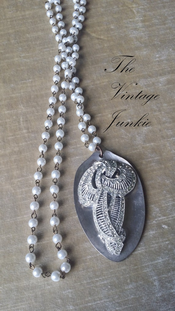 The Vintage Junkie...Long Layering Necklace with Glass Pearls, Vintage Silver Spoon and Upcycled Rhinestone Brooch