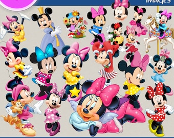 MINNIE MOUSE clipart png images, Digital Cliparts, Stickers, Decals, Png file, Transparent Backgrounds, digital print, printable images