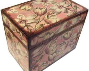 Recipe Box Decoupaged  Large and Handcrafted Blush Pink Blossoms, Holds 4x6 Recipe Cards  MADE TO ORDER