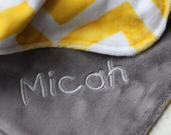Baby Blanket, Personalized Baby Blanket, Girl or Boy blanket, Yellow Chevron Baby Blanket, Double Minky Baby Blanket, Personalized Baby Gift