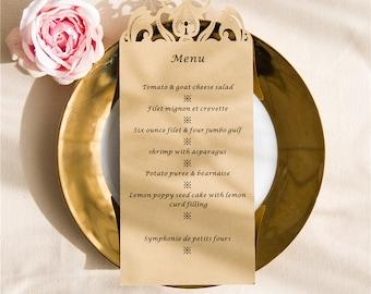 Laser cut Wedding Menus: Lasercut Menu.  Wedding Decor. Wedding Table Decor. Personalized. Custom Colors.  Floral Design.  Modern Wedding.