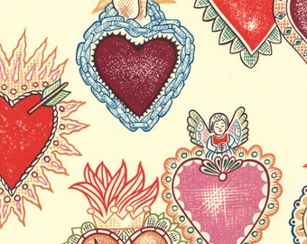 Alexander Henry Gothic Alma y Corazon Tattoo Style Soul & Hearts on Cream 100% Cotton Fabric - FQ