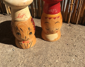 Vintage salt and pepper shakers wood chefs