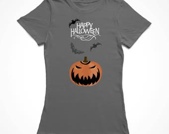Happy Halloween Classic Scary Pumpkin Women's Charcoal T-shirt