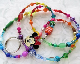 RAINBOW MINNIE- Beaded ID Lanyard- A Kaleidoscope of Beads- Lampwork, Millefiore, Pearls, Crystals, and Minnie Mouse Charm (Comfort Created)