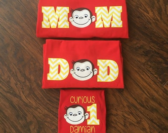Custom Mom and Dad Curious George Shirt! Personalized Birthday Shirts!