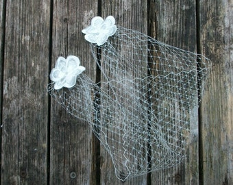Bandeau Veil, Wedding Veil, Ivory Blusher Veil, Bridal Mini Veil, Birdcage Veil, French Netting Veil,