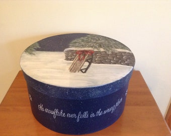 Hand Painted Christmas, Holiday, Memory Gift Box