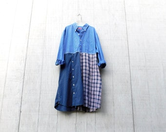 Damen Tunika, Upcycled Kleidung, Kleid aus Baumwolle, blau kariertes Kleid, blau Kleid, Plus Size Kleid, Blumen, Tunika, Upcycling Kleid, CreoleSha