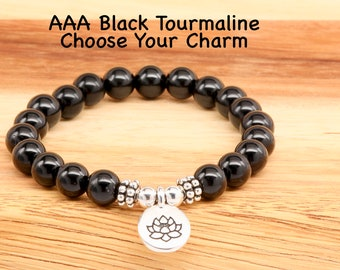 AAA Black Tourmaline Beaded Bracelet, Sterling Silver, Charm Choice, Stress Relief, Anxiety Relief, Women's, Men's, EMF Protection Bracelet