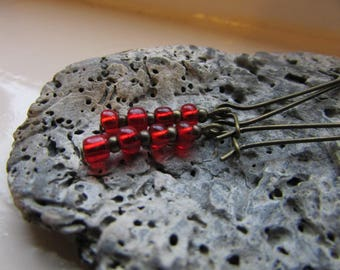 Red earrings , Bronze and red earrings , Kidney wire earrings , Beaded earrings , Dangle earrings , Gifts for her