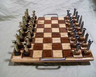 Original 1st design~ Classic 223 Bullet shell chess pieces with wood bases.  Optional Red Oak board with handles.- Free Shipping to U.S.