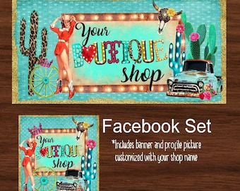 Facebook timeline set, Western Theme, Facebook Business set, Digital File, Facebook cover & profile