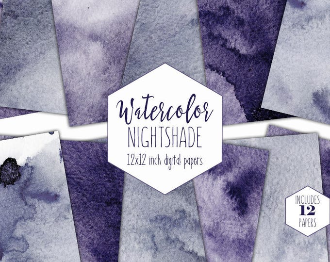 DARK PURPLE WATERCOLOR Digital Paper Pack Commercial Use Violet Backgrounds Scrapbook Papers Real Watercolour Wash Textures Purple Clipart