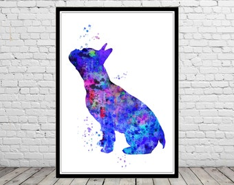 French Bulldog, French Bulldog sitting, Frenchie, watercolor art print, dog print, Bulldog, Bulldog print, watercolor print dog, dog art