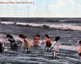 Ocean Grove, New Jersey - Children playing in the surf at the beach in 1911 - Vintage Postcard