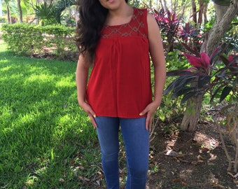 Traditional Mexican  red with detail  Blouse of Manta