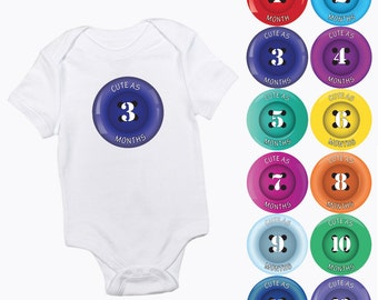 cute as a button new baby monthly growth stickers months 1-12 pre cut multi-coloured gender neutral boy or girl milestone photo prop