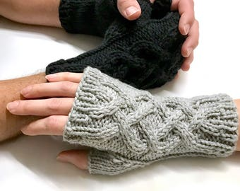 Merino Wool Celtic Cable Knit Fingerless Gloves Warmers,  Handmade Knit Hand Warmers Men And Women