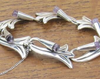 Sterling Silver Amethyst Bracelet Hecho en Mexico Vintage Mexican Jewelry 925