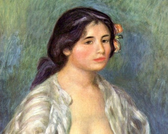 Gabrielle in an Open Blouse by Renoir - a Frameable, Vintage 1954 Frameable Art Print
