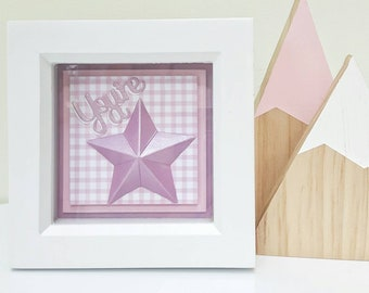 Pink gingham 'You're a star' framed paper art decoration, nursery, children's room decor, shelfie, wall-hanging