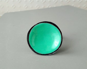 round  mint enamel ring sterling silver oxidized cocktail ring mint color adjustable mid-century jewelry big cup ring vitreous enamel