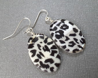 Black and White Confetti Ovals. Earrings