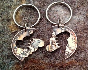Steampunk Hearts**Copper Interlocking** Vintage Coin Keychain/Neclace Set