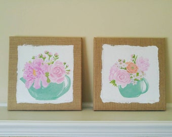 Garden Tea Party set of 2 paintings 12""