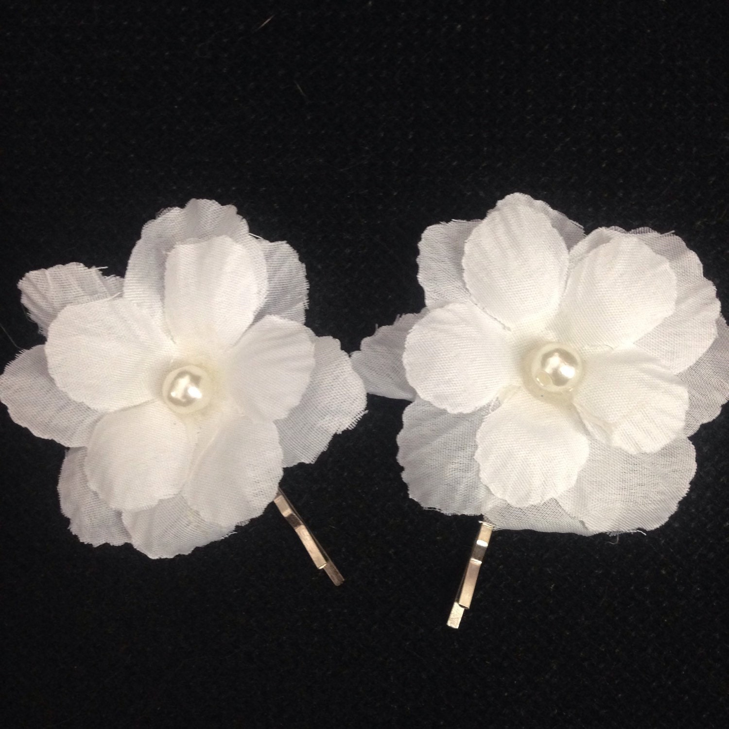 Set Of Two White Flower Bridal Hair Pin Small Wedding Clips